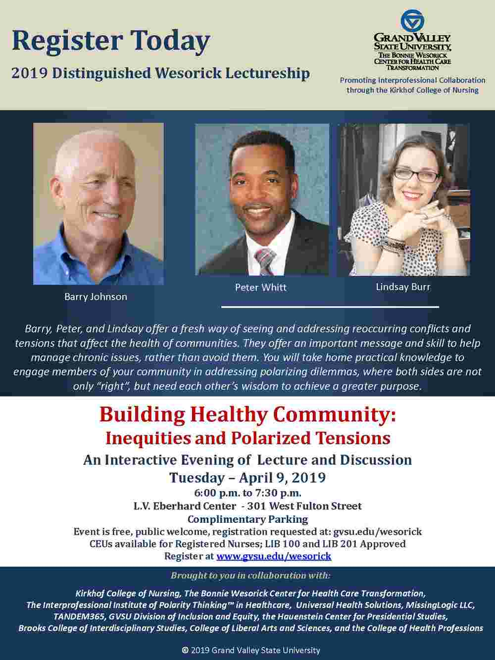 Building Healthy Community: Inequities and Polarized Tensions - April 2019